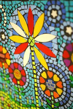 """""""Night Daisies"""" detail Flair Robinson mosaic"""