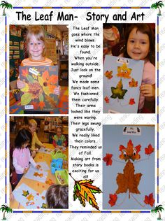 The Leaf Man.an art project Totally doing this! Fall Preschool Activities, Kindergarten Science, Preschool Art, Activities For Kids, Learning Stories, Leaf Man, Tree Study, Fall Art Projects, Grande Section