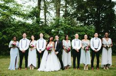 Bridesmaid in sage dresses + groomsmen in suspenders