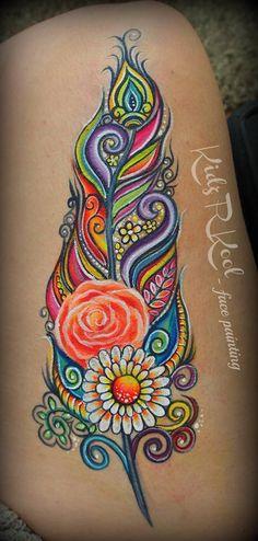 Arm design floral feather