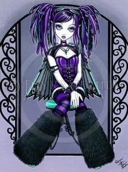 Reagan Purple Cybergoth Industrial Fairy Original by MykaJelina Gothic Fantasy Art, Gothic Fairy, Fantasy Kunst, Fantasy Dolls, Gothic Kunst, Fairy Original, Dread Falls, Fairy Pictures, Goth Art