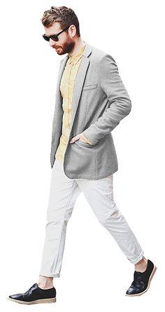 man walking gray