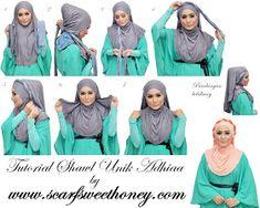 Hijab Tutorial see this Scarf Tutorial, Hijab Tutorial, Leopard Fashion, Hijab Fashion Inspiration, Turban Style, Islamic Fashion, Layer Style, Loop Scarf, Children Images