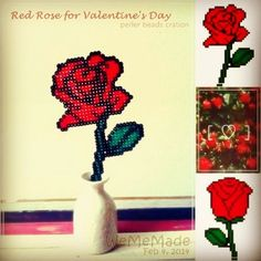 Red Rose perler beads 2 patterns coming soon...#wememade #diy #handmade #valentine #flower #perler #perlerbeads #pixel #hama #hamabeads #perleraction #perlerbeadspattern #valentineday