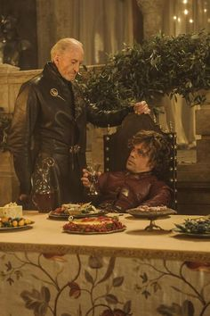 S3E8 screenshot: Charles Dance as Tywin Lannister and Peter Dinklage as Tyrion Lannister.