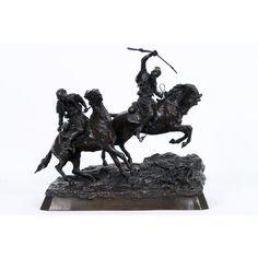 """20th Cent. """"Cherkessians horsemen"""" sculpture in bronze - Russian Art, Sculpting, Lion Sculpture, Auction, Statue, Sculpture, Sculptures"""