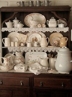 Hutch with brown transferware and white ironstone Vintage Dishes, Vintage China, Country Decor, Farmhouse Decor, Muebles Shabby Chic, White Dishes, White Pitchers, Retro, Cottage Style