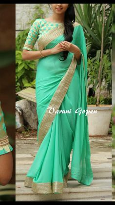 Sari Design, Sari Blouse Designs, Blouse Patterns, Saree Styles, Blouse Styles, Plain Saree With Heavy Blouse, Saree Dress, Saree Blouse, Elegant Saree