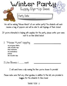 This holiday party letter lets parents know the date and time of our mrs heerens happenings moose munch winter party sign up spiritdancerdesigns Images