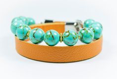 A personal favourite from my Etsy shop https://www.etsy.com/listing/468034431/turquoise-beads-and-real-leather