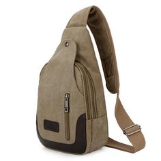 Classic Styled Canvas Outdoor Trekking Chest Bag  Multi Compartments. Triangle shape with many pockets for storage and organization. Front pockets for phones and keys, back pocket for wallets,   Capacity: Less than 20L  #nochillbanana #accessories #canvas #canvasbag #multiuse #baglover #bagsofpinterest #bagseason #2018 #trending #goodvibes #awesome #design #fashion #girlboss #instagram #comfort #comfortable