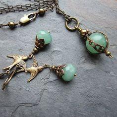 Grüne Aventurin Halskette sicher Traveller Anhänger von DebraDane