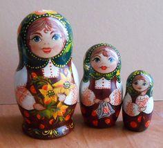 Nesting dolls matryoshka in Russian style by Artworkshop1 on Etsy