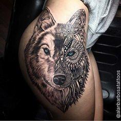 Wolf Tattoos - View the latest tattoo designs Dope Tattoos, Hip Thigh Tattoos, Body Art Tattoos, Maori Tattoos, Tattoo Ink, Black Tattoos, Tatoos, Husky Tattoo, Tiger Tattoo