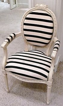Black & white striped arm chair, perfect for a Parisian themed little girl's room.