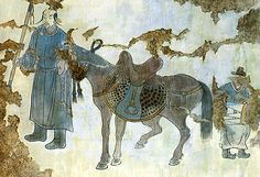 Tomb wall painting featuring a Khitan horseman (possibly the high official Xiao Quli, who married Zhigu, the daughter of the dynasty's founder Yelu Abaoji) and his steed, Mid-Liao dynasty, c. 11th c From Tomb #1 at Beisanjia Village Site Aohan Banner, Chifeng Municipal District.