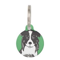 Border Collie with Green Custom Round Dog Pet Tag; Abigail Davidson Art; All tags are ready to customize on the back with your pet's name and your phone number!