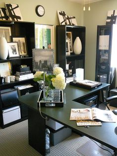 Gorgeous office. Lots of stuff but it doesn't look cluttered. Absolutely love the lamp shade.