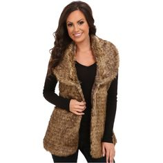 Faux-fur vest brings a touch of lux to your look. Oversized, fold-over collar. Sleeveless design. Single hook closure at front. Straight hem at a tunic length. 100% acrylic; Lining: 100% polyester. Dry clean only. Imported. Measurements: Length: 28 in Product measurements were taken using size SM. Please note that measurements may vary by size.