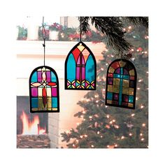 Stained Glass Church Window Ornaments - TerrysVillage.com