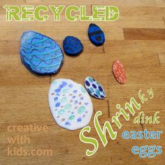 Recycle #6 plastic into shrinky dink Easter ornaments