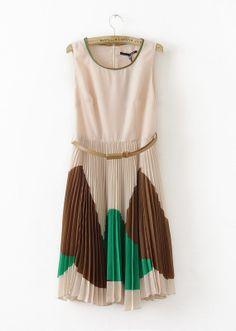 Color Matching Round Neck Sleeveless Chiffon Dress - Sheinside.com