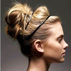 Banded messy updo ,