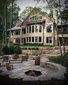 Complementary natural stone landscape design for modern rustic lake home w/ exterior & interior stone veneer. Castle Rock, Stone Landscaping, Backyard Landscaping, Rustic Stone, Modern Rustic, Patio Design, Exterior Design, Garden Design, Stone Masonry
