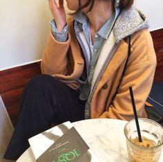 ★ ★ ★ ★ ★ five stars (black suit pants, mustard pea coat, grey zip up hoodie, light wash chambray, white tee)