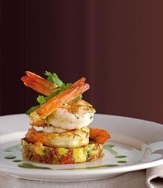 Prawns on Avocado Salsa recipe, brought to you by MiNDFOOD. Prawns on Avocado Salsa recipe, brought to you by MiNDFOOD. Fish Recipes, Seafood Recipes, Gourmet Recipes, Appetizer Recipes, Cooking Recipes, Gourmet Desserts, Gourmet Food Plating, Prawn Recipes, Fish Starter Recipes
