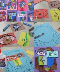 Realistic Drawing Ideas Super Cubism / Picasso art project for kids! - Super Cubism / Picasso art project for kids! School Art Projects, Art School, School Ideas, Art History Projects For Kids, Summer Art Projects, Art 2nd Grade, Grade 1, Club D'art, Art Picasso
