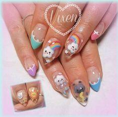 all hand painted Kawaii weather ? all hand painted Pretty Nail Art, Cute Nail Art, Nail Art Diy, Cute Gel Nails, Diy Nails, Bling Nails, Nail Swag, Kawaii Nail Art, Korean Nail Art