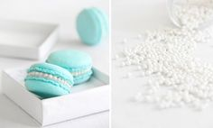 tiffany blue macarons with orange blossom buttercream.