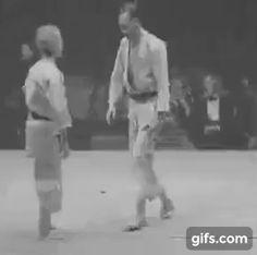 Escape from a bear hug. Judo demonstration, London, 1937.