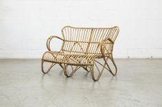 Mid-Century Retro Bamboo Love Seat