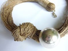 One of a Kind Silver Linen Necklace by Cynamonn on Etsy