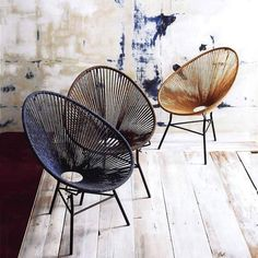 These ultra cool Roost Ellipse Chairs update a vintage classic. Contemporary and modern with a hint of rustic touch. Soft cotton cords have tonal variation due to a hand-dye process. Dark iron bases provide sturdy support and visual contrast. Use indoors or in covered areas.