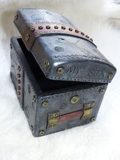 Steampunk box in polymer clay