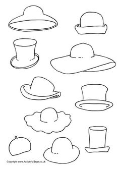Decorate the hats, printable activity Drawing For Kids, Art For Kids, Hat Template, Templates, Clothing Themes, Creative Curriculum, Cool Coloring Pages, Activity Sheets, Doodle Drawings
