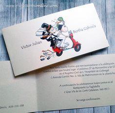 Invitaciones de boda novios moto roja #bodas #invitacionesboda #bodasBarcelona #bodas #noviosmoto
