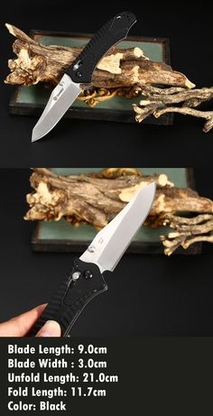 Ganzo G710 Portable Axis Locking Foldable Camping Hunting Knife 440C Stainless Steel Blade  -  Black * ganzo knives, knife, knife hiking, knife travel