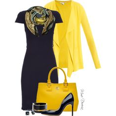 Yellow and navy by madamedeveria on Polyvore featuring Paul Smith, Diane Von Furstenberg, Rupert Sanderson, Tory Burch, MANGO, Kate Spade and Alva-Norge