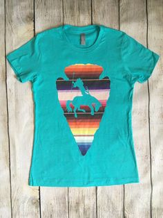 Southwest arrowhead warrior graphic t shirt / by RockinAdesign Rockin A Design, t shirt, turquoise, cowgirl, western, rodeo, arrowhead, native american, serape, sarape, southwest bronc rider bucking horse