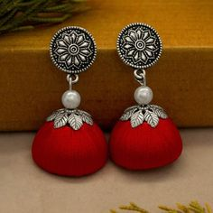 Items similar to High Quality Oxidized German Silver Silk Thread Floral Stud And Lotus Stud Red Jhumka Silver Gold Plating Silk Thread Earrings Designs, Silk Thread Jhumkas, Silk Thread Bangles Design, Silk Thread Necklace, Silk Bangles, Thread Jewellery, Beaded Jewelry, Handmade Jewelry, Jewellery Making