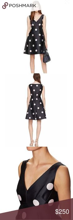 """Kate Spade spotlights v-neck dress NWT. Armpit to armpit 17.5"""", waist 30"""", length 35"""". 100% polyester, lining 100% polyester. With hidden back zip closure  color: navy blue with blush pink polka dots kate spade Dresses Midi"""
