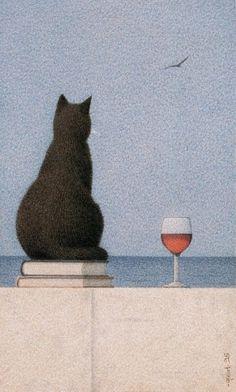 Black Cat & wine.