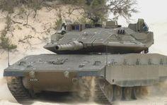 포탑 양측에 트로피 APS를 장착한 이스라엘 메르카바 4 전차