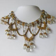 Vtg 1930's Art Deco Victorian Revival Crystal Glass Festoon Dangle Bib Necklace | eBay