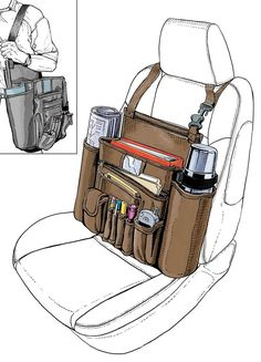 For most of us in the trades, the front seat of our truck is our office, and can also be a mess. The Cab Commander car organizer solves the clutter problem and . Auto Camping, Kangoo Camper, Car Office, Mobile Office, Pt Cruiser, Car Storage, Office Organization, Folder Organization, Truck Accessories