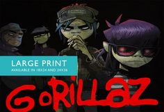 Gorillaz Illustration Album Art Print Band Poster Giclee on Paper Canvas Grunge Wall Decor - Large Print on Cotton Canvas and Satin Photo Paper. Gorillaz poster print featuring illustrated band members coming out of the shadows. This print is available on high quality 66lb/255gsm RC (resin coated) satin finish photo paper and (NEW!) premium 360gsm double woven cotton canvas. Printed borderless. Each print is shipped unframed, unstretched and rolled in sturdy shipping tube.